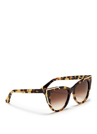 Figure View - Click To Enlarge - Thierry Lasry - 'Butterscotchy' tortoiseshell acetate angular metal rim sunglasses