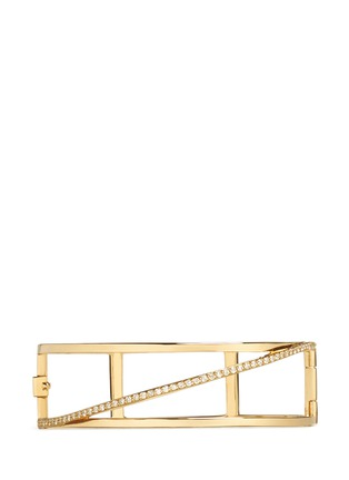 Main View - Click To Enlarge - Phyne By Paige Novick - 'Cara' 18k gold diamond pavé stacked hinge bangle