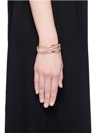 Figure View - Click To Enlarge - Phyne By Paige Novick - 'Cara' 18k gold diamond pavé stacked hinge bangle