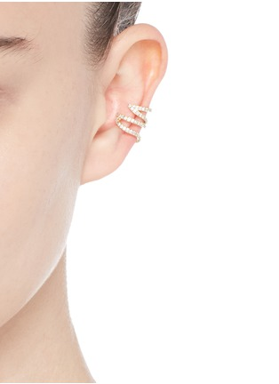 Figure View - Click To Enlarge - PHYNE BY PAIGE NOVICK - 'Stella' 18k gold diamond pavé winged ear cuff