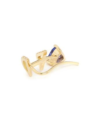 Detail View - Click To Enlarge - Phyne By Paige Novick - 'Marta' 18K gold diamond pavé tanzanite single climber earring