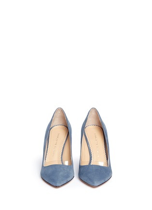 Figure View - Click To Enlarge - Charlotte Olympia - 'Party Shoes 85' PVC trim suede pumps