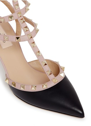Detail View - Click To Enlarge - Valentino - 'Rockstud' caged calfskin leather pumps