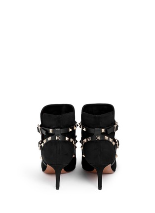 Back View - Click To Enlarge - Valentino - 'Rockstud' leather strap suede ankle boots