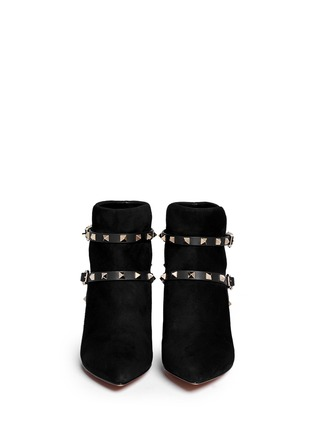 Figure View - Click To Enlarge - Valentino - 'Rockstud' leather strap suede ankle boots