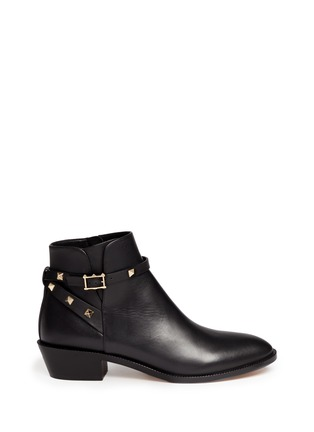 Main View - Click To Enlarge - Valentino - 'Rockstud' strap leather ankle boots