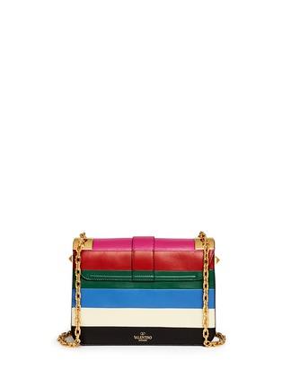 Back View - Click To Enlarge - Valentino - 'B-Rockstud' stripe leather shoulder bag