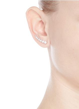Figure View - Click To Enlarge - Sophie Bille Brahe - 'Croissant de Lune' diamond 18k white gold single earring