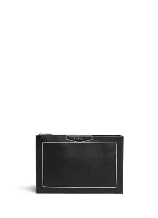 Main View - Click To Enlarge - Givenchy - 'Antigona' contrast edge large leather zip pouch
