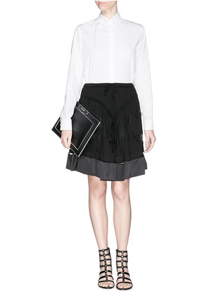 Figure View - Click To Enlarge - Givenchy - 'Antigona' contrast edge large leather zip pouch