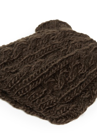 Detail View - Click To Enlarge - THE BLUEBERRY HILL - 'Julian' bear cable knit kids beanie