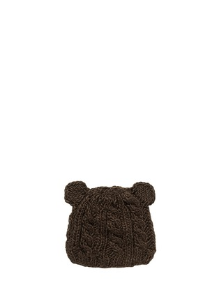 Main View - Click To Enlarge - THE BLUEBERRY HILL - 'Julian' bear cable knit kids beanie