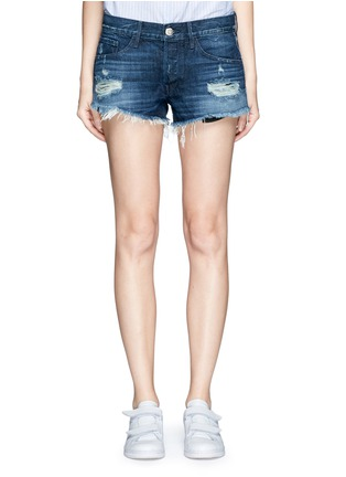 Detail View - Click To Enlarge - 3x1 - 'WM5' distressed cutoff denim shorts