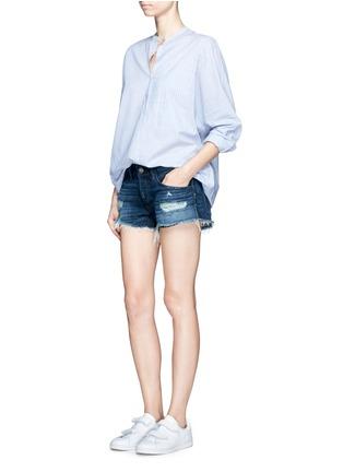 Figure View - Click To Enlarge - 3x1 - 'WM5' distressed cutoff denim shorts