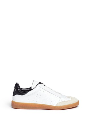 Main View - Click To Enlarge - Isabel Marant Étoile - 'Bryce' brogue trim leather sneakers