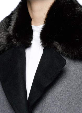 Detail View - Click To Enlarge - Cynthia & Xiao - Check ribbon wool-cashmere faux fur coat
