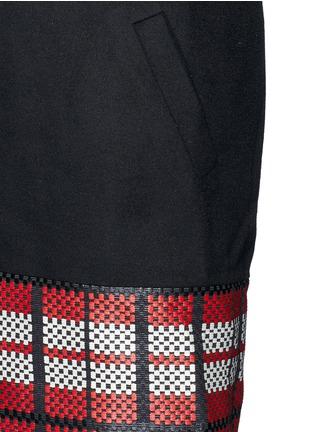 Detail View - Click To Enlarge - Cynthia & Xiao - Textured tartan felted wool-cashmere coat