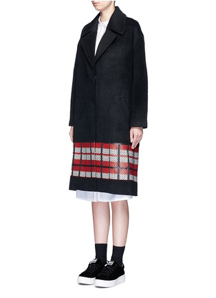 Front View - Click To Enlarge - Cynthia & Xiao - Textured tartan felted wool-cashmere coat