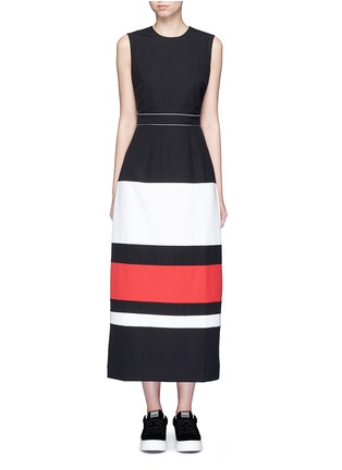 Main View - Click To Enlarge - CYNTHIA & XIAO - Contrast stripe split back maxi dress