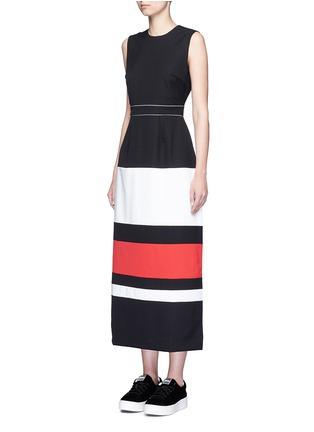 Figure View - Click To Enlarge - CYNTHIA & XIAO - Contrast stripe split back maxi dress