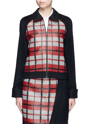 Main View - Click To Enlarge - Cynthia & Xiao - Textured tartan felted wool-cashmere jacket