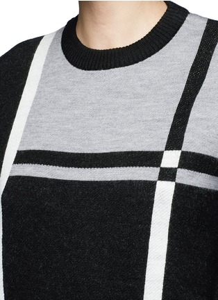 Detail View - Click To Enlarge - Cynthia & Xiao - Check colourblock Merino wool sweater