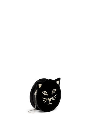 Front View - Click To Enlarge - Charlotte Olympia - 'Pussycat Purse' velvet crossbody bag