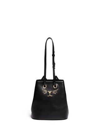 Main View - Click To Enlarge - CHARLOTTE OLYMPIA - 'Feline' catface calfskin leather bucket bag