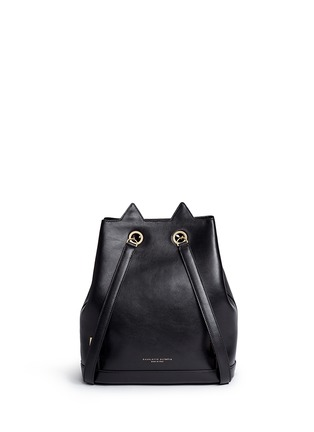 Back View - Click To Enlarge - CHARLOTTE OLYMPIA - 'Feline' cat face chain calfskin leather backpack