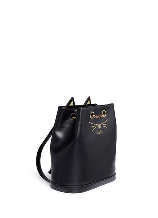 Front View - Click To Enlarge - CHARLOTTE OLYMPIA - 'Feline' cat face chain calfskin leather backpack