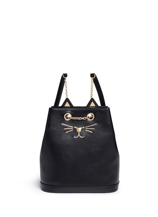 Main View - Click To Enlarge - CHARLOTTE OLYMPIA - 'Feline' cat face chain calfskin leather backpack