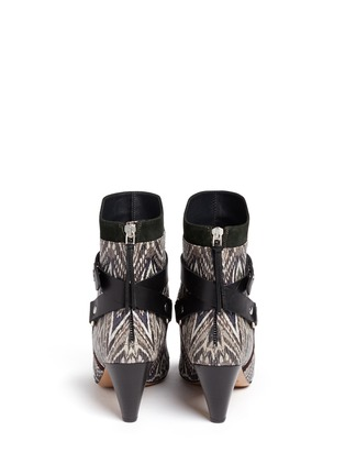 Back View - Click To Enlarge - Isabel Marant - 'Raya' ikat print snakeskin effect leather ankle boots