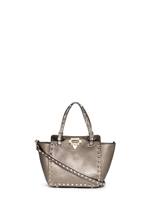 Main View - Click To Enlarge - Valentino - 'Rockstud' mini metallic leather tote