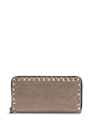 Main View - Click To Enlarge - VALENTINO - Rockstud' metallic leather zip continental wallet