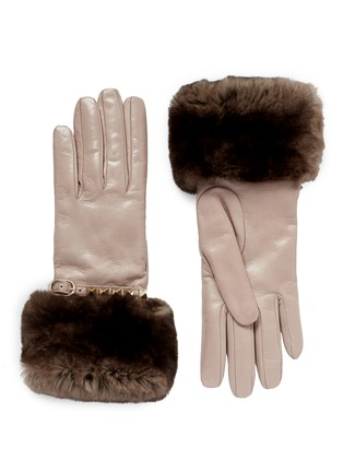 Main View - Click To Enlarge - VALENTINO - 'Rockstud' strap Orylag fur trim leather gloves