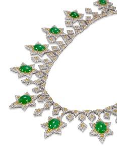 Buccellati Diamond jade 18k gold earrings and necklace set