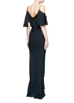 Back View - Click To Enlarge - Emilio Pucci - Ruffle silk georgette cold shoulder gown