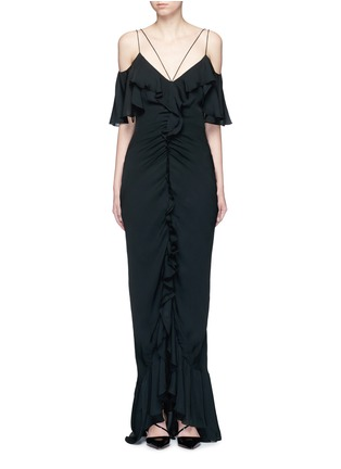 Main View - Click To Enlarge - Emilio Pucci - Ruffle silk georgette cold shoulder gown