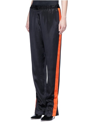 Front View - Click To Enlarge - GIVENCHY - Contrast stripe silk satin pants