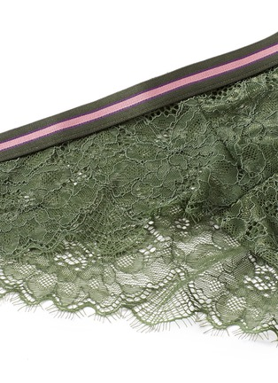 Detail View - Click To Enlarge - 72930 - 'Dragonfly' stripe elastic waist lace boyshorts