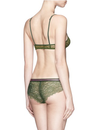 Back View - Click To Enlarge - 72930 - 'Dragonfly' stripe elastic waist lace boyshorts