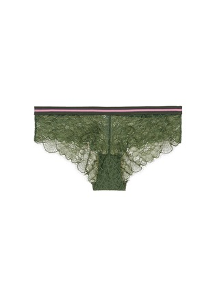 Main View - Click To Enlarge - 72930 - 'Dragonfly' stripe elastic waist lace boyshorts