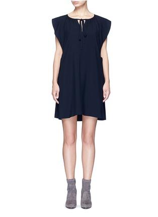 Main View - Click To Enlarge - Chloé - Drawstring V-neck cady dress