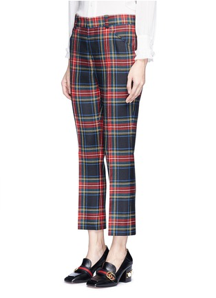 Front View - Click To Enlarge - Gucci - Washed wool tartan cropped pants