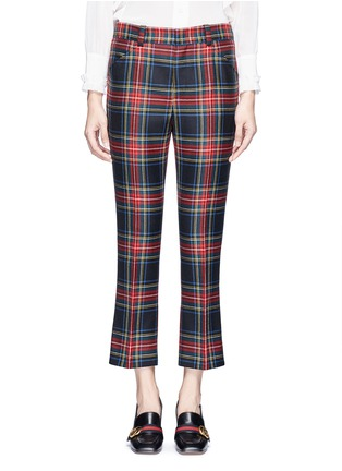 Main View - Click To Enlarge - Gucci - Washed wool tartan cropped pants