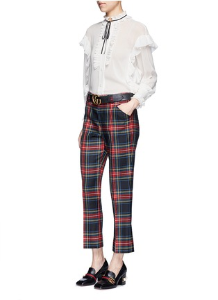 Figure View - Click To Enlarge - Gucci - Washed wool tartan cropped pants