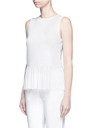 Front View - Click To Enlarge - Theory - 'Elvnee' plissé pleat slub jersey top