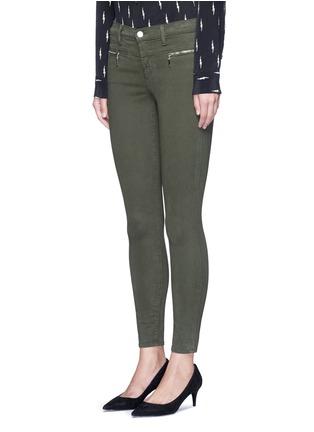 Front View - Click To Enlarge - J Brand - 'Miranda' mid rise zip sateen skinny pants