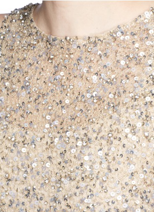 Detail View - Click To Enlarge - alice + olivia - 'Hilta' sequin embellished combo flare dress