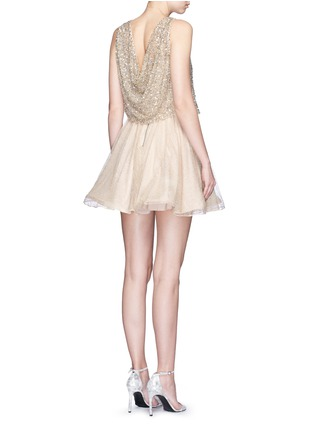 Back View - Click To Enlarge - alice + olivia - 'Hilta' sequin embellished combo flare dress